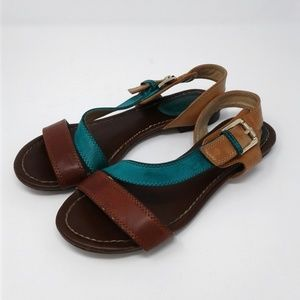 Breckelle's teal tan brown strappy flat sandals